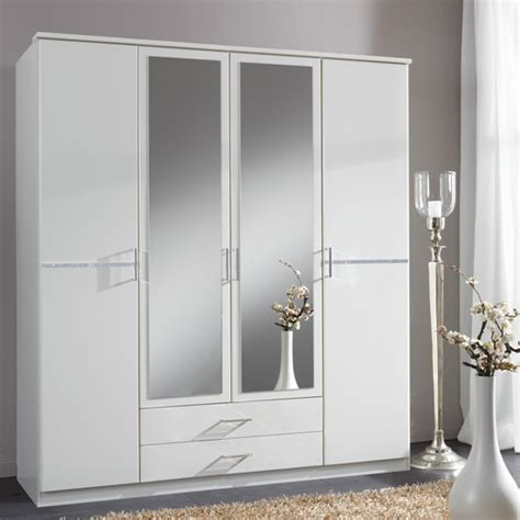 gastineau wardrobe in walnut and white gloss with mirror