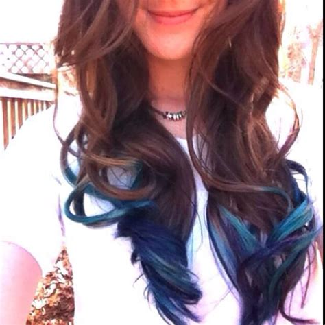 dyed hairstyles for brunettes brunette and teal tips let the locks flow pinterest