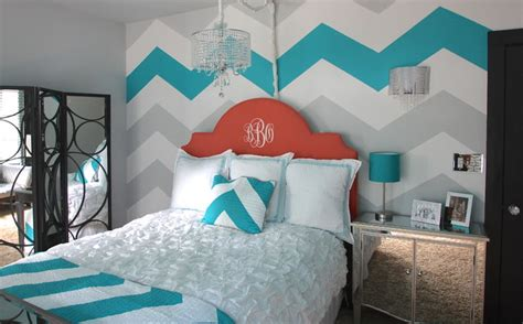 chevron bedroom decor painted blue white and grey chevron wall decoist
