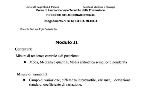 dispensa statistica dispensa corso dispensa di statistica medica