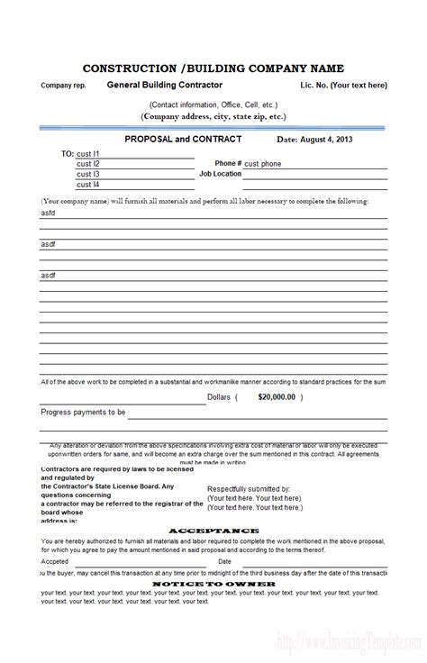 Construction Proposal Template Construction Management Rfp Template