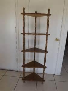vintage wooden corner shelf 5 tier floor wood shelves ebay
