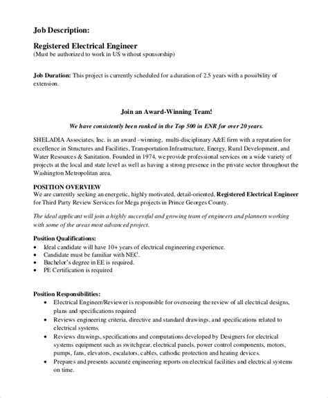 Sle Resume Of Electrician Pdf 28 Maintenance Engineer Description Electrical Sle Electrical Engineer Description 10 Exles