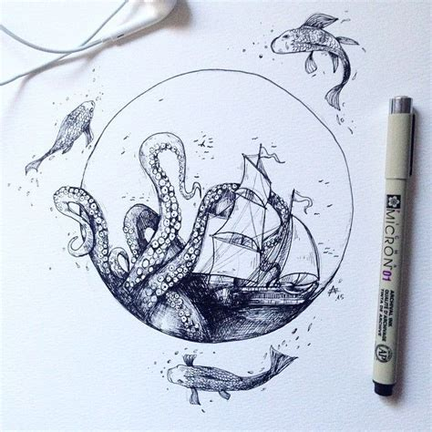 tattoo sketch pen grunge octopus poster google search photos and