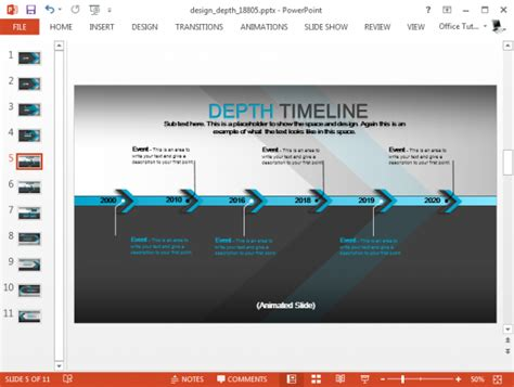 Animated Design Depth Powerpoint Template Animated Timeline Powerpoint Template