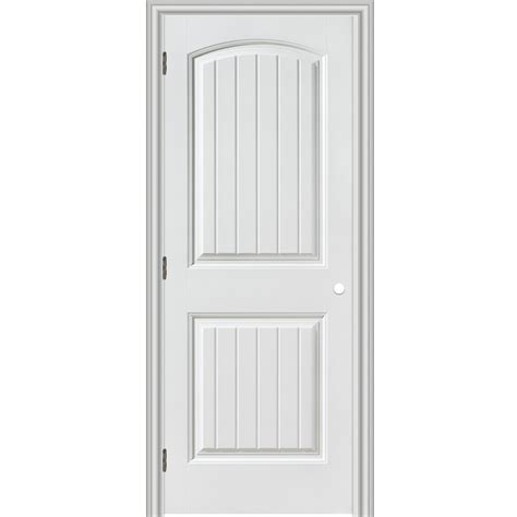 Shop Reliabilt 2 Panel Round Top Plank Hollow Core Smooth Prehung Interior Doors