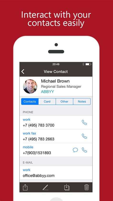 Business Card To Contact App