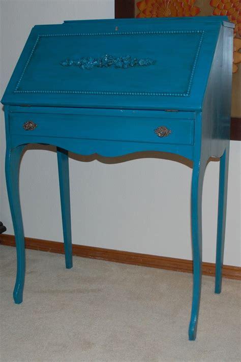Blue Vintage Desk by Peacock Blue Desk Vintage Painted
