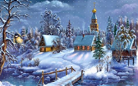 Country Cottage Cross Stitch Winter Happy Christmas Wallpaper Free Wallpapers