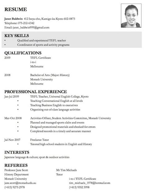 exles of resumes resume format for internal job