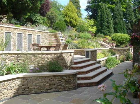 Terraces And Stone Garden Walls For A Steeply Sloped Terraced Patio Designs