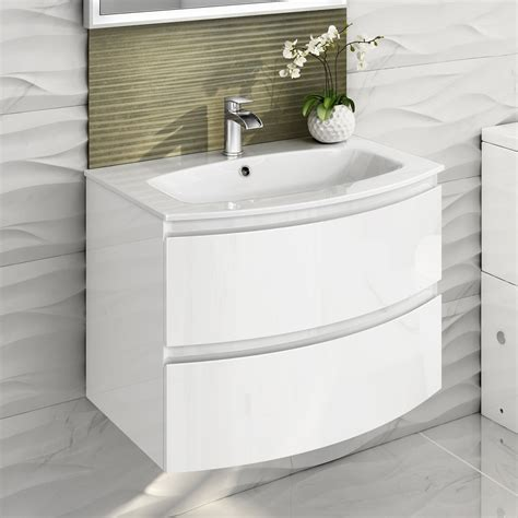 Curved Bathroom Furniture 700mm Modern White Vanity Unit Curved Bathroom Furniture Sink Basin Wall Hung Ebay