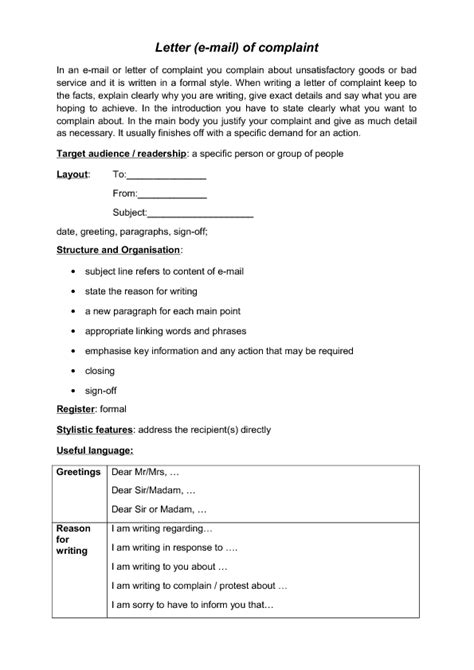 Complaint Letter Ending Phrases E Mail Of Complaint