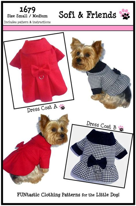 sewing pattern for dog winter coat dress dog coat pattern 1679 small medium dog clothes