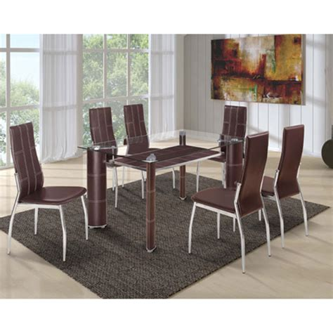 Dining Table Glass Top 6 Chairs charrell clear glass top dining table with 6 brown chairs