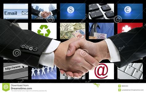 Tv Videotech tech tv communication screen handshake stock images