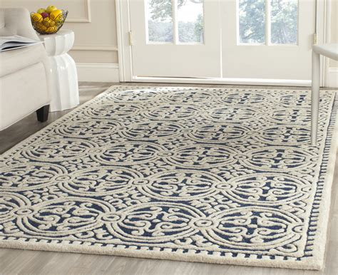 navy blue wool rug safavieh cambridge navy blue ivory wool contemporary area rug cam123g