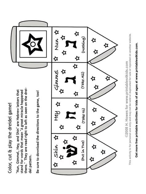 print and color dreidel game printables for kids free