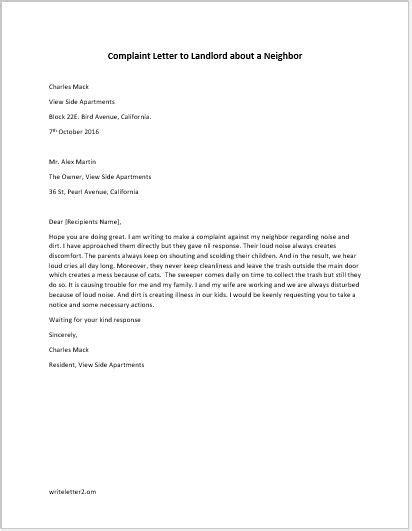 sample complaint letter landlord neighbor noise