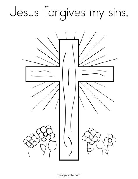 coloring pages jesus forgives jesus forgives my sins coloring page twisty noodle