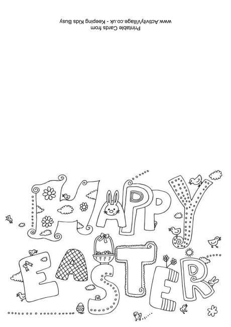 easter cards colouring template happy easter colouring card
