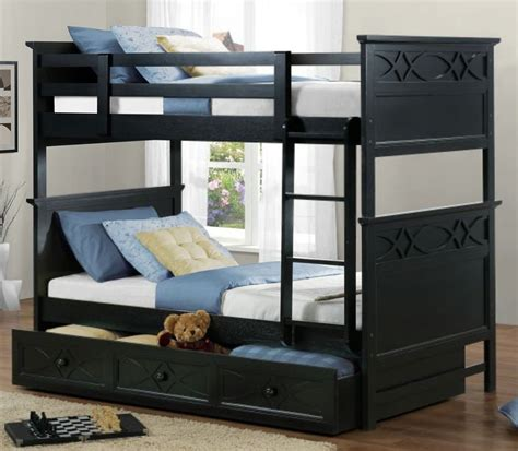 three bed bunk bed homelegance sanibel 3 piece bunk bed kids bedroom set in black beyond stores