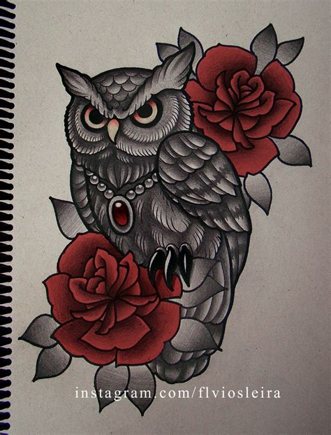 owl and rose tattoo roses owl by frah on deviantart owl style