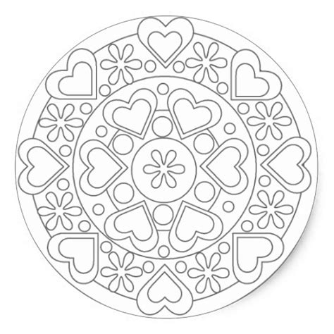coloring in hearts and flowers mandala sticker zazzle