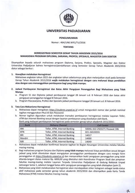 herregistrasi semester genap tahun akademik 2015 2016 universitas