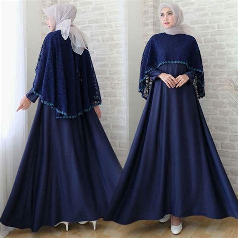 Gamis Abaya Marissa Brokat Navy gamis lebaran cape brokat terbaru sofia navy baju gamis