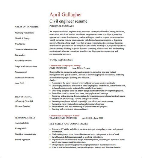 resume exle engineer 10 civil engineer resume templates pdf doc free