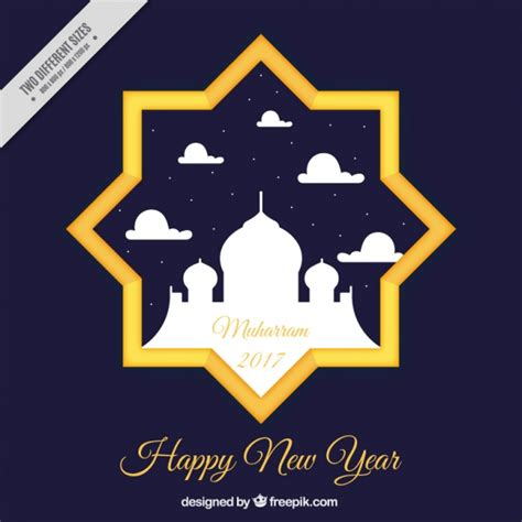 new year of islamic new year background of with mosque vector