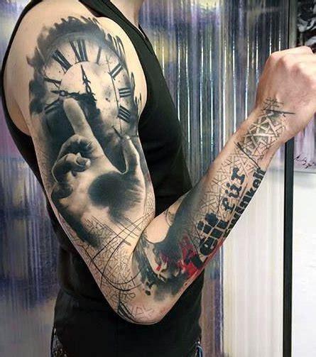 tattoo 3d zegar tatuaże męskie 3d zegar i dłoń na tatuaże zszywka pl