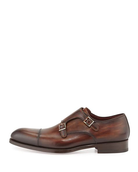 neiman shoes neiman leather monk shoe in brown for lyst