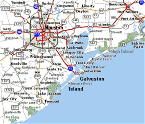 map of the texas coast galveston island