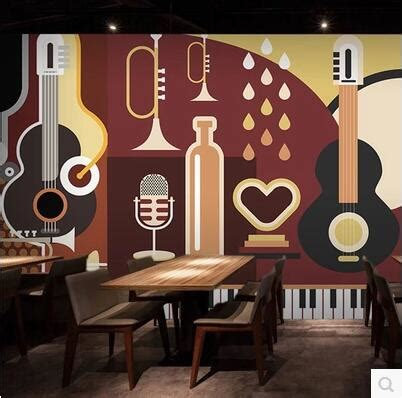song cafe rock guitar theme large mural wallpaper ktv bar