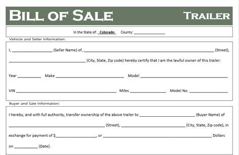 Free Colorado Trailer Bill Of Sale Template Off Road Freedom Bill Of Sale Template Colorado
