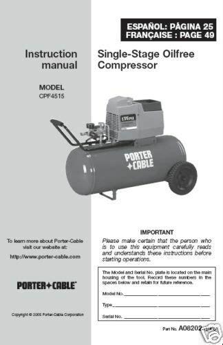 porter cable air compressor manual cpf4515 ebay