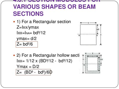 section modulus of a rectangle bending stresses in beams