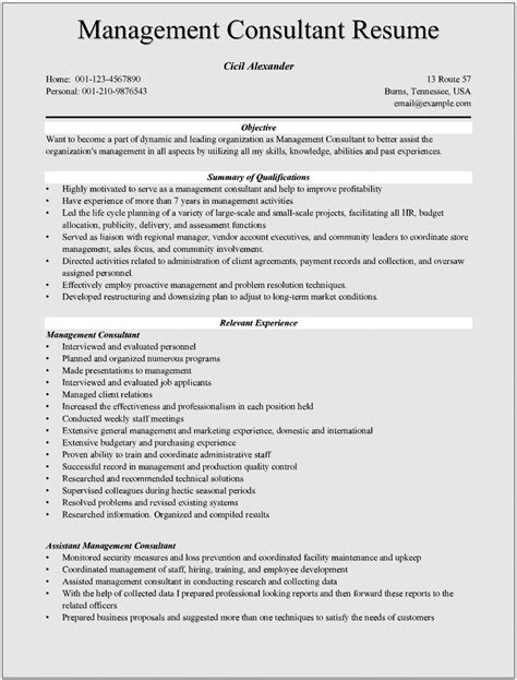 Resume Consultant by Management Consulting Resume Exles For Microsoft Word