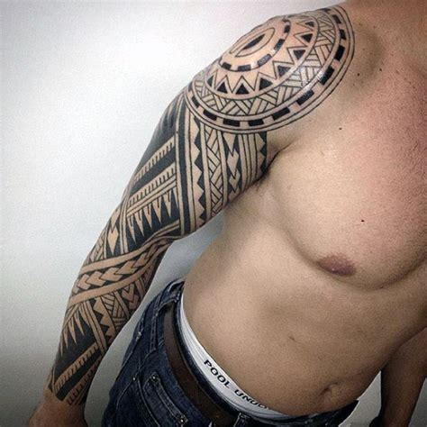 tribal sleeve tattoo designs for men 75 tribal arm tattoos for interwoven line design ideas