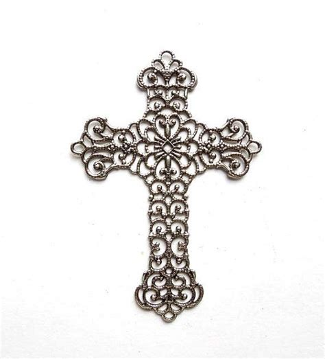 1 antique silver filigree cross