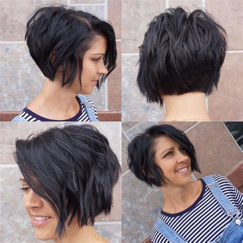 textured hairstyles for black s stacked textured wavy bob with black color
