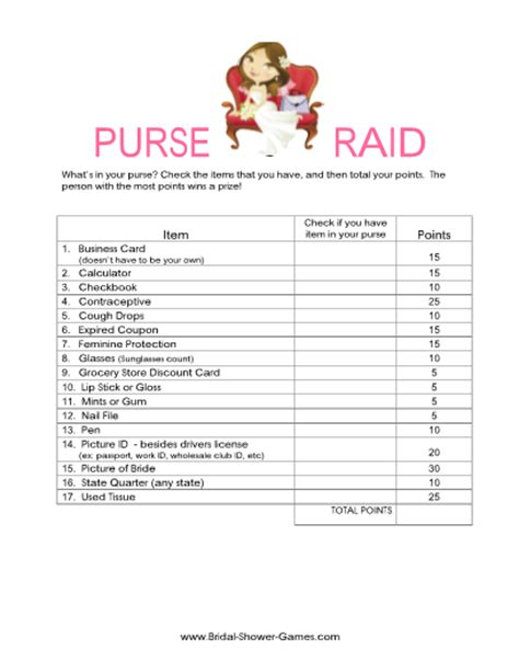 bridal shower games purse game printable printable what s in your purse game classic bridal