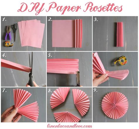 How To Make Paper Rosettes - linen lace diy paper rosettes