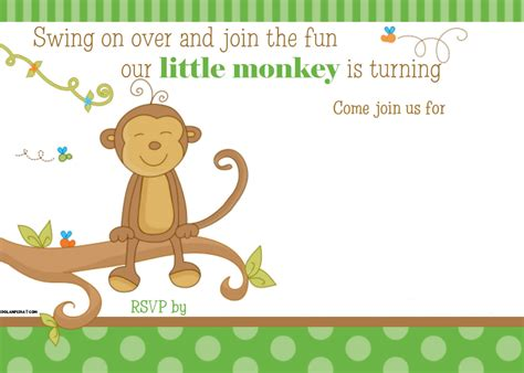 Monkey Birthday Card Template by Free Printable Monkey Birthday Invitation Template