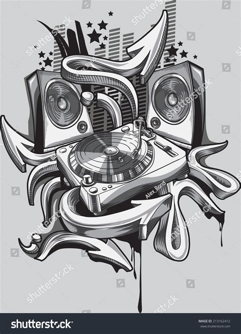 music design turntable amp graffiti arrows stock vector