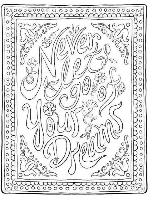live your dreams an coloring book with inspirational quotes and adorable kawaii drawings books inspirational quote coloring page never let go of your dreams