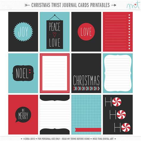 free printable christmas journaling cards free journal card printables
