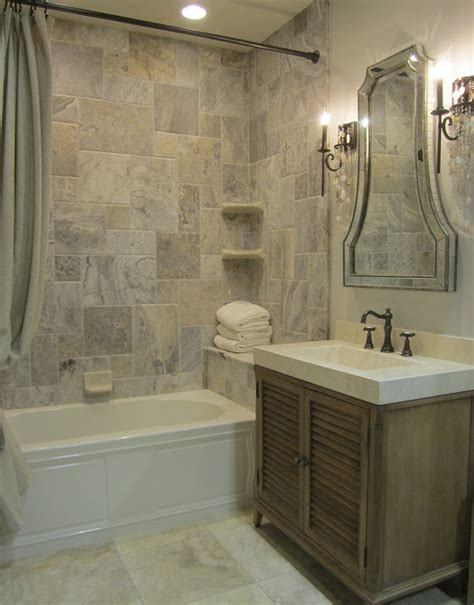 silver travertine tile shower traditional bathroom